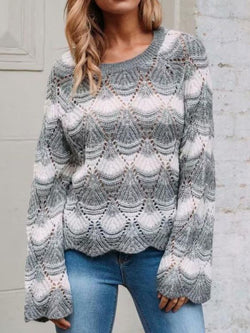Women Casual Plus Size Round Neck Sweater
