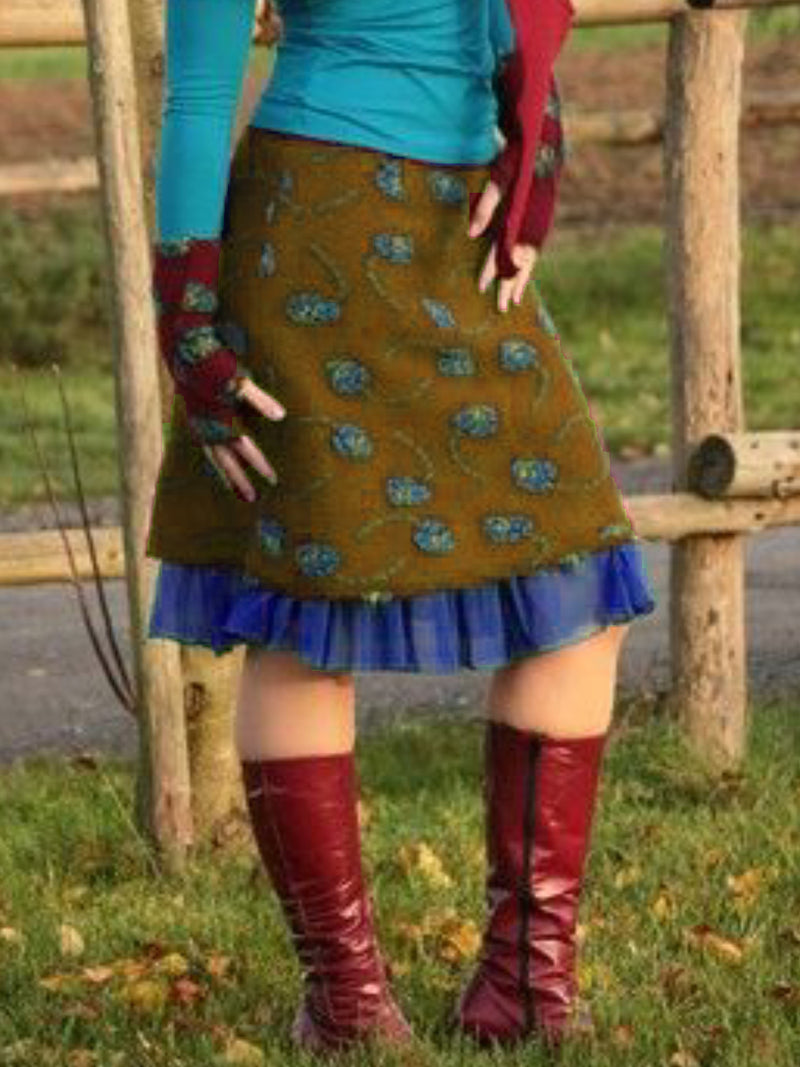 Casual Vintage Oversized Winter Pattern Skirt Outfit