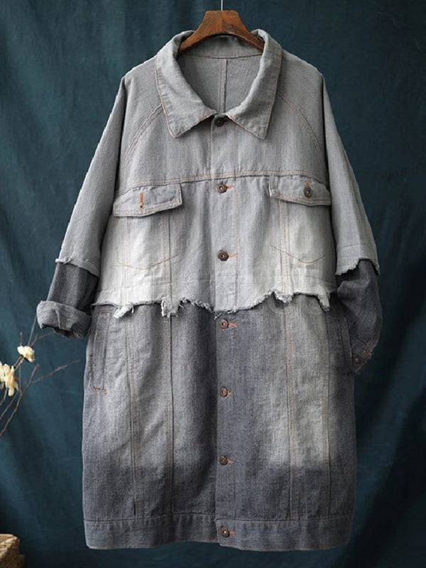 Casual Plus Size Paneled Denim Jacket Coat Outerwear