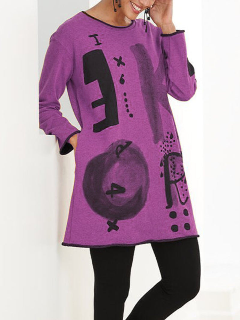 Women Casual Tops Tunic Printed Long Sleeve T Shirt