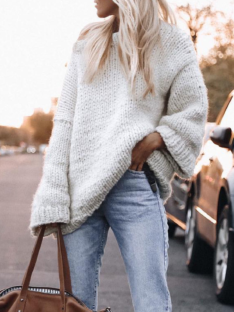Casual Plus Size Long Sleeve Sweater Pullover