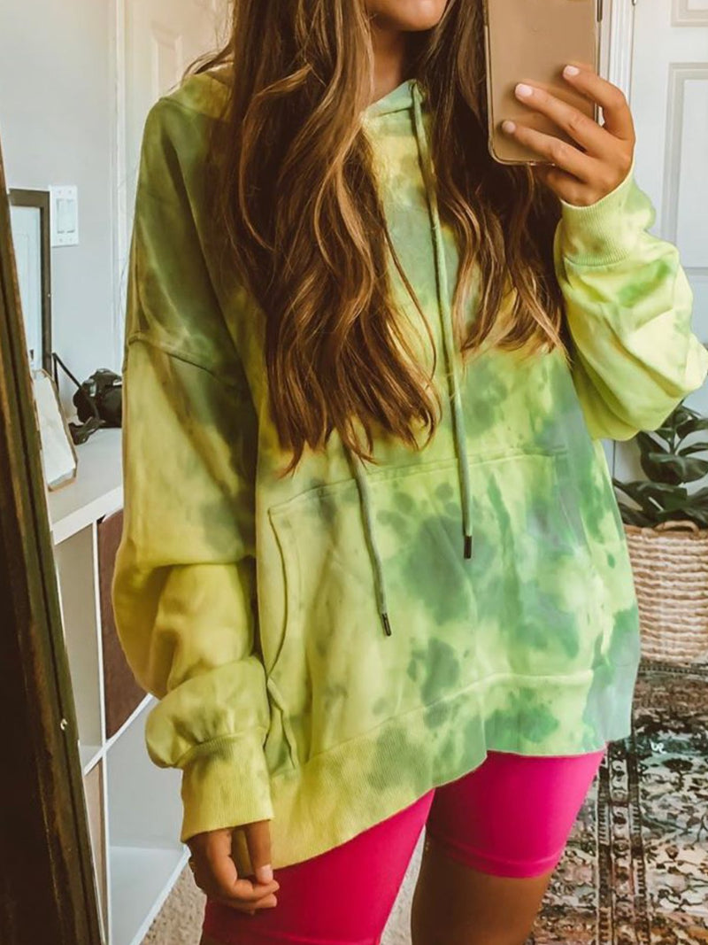 Casual Plus Size Long Sleeve Tie-Dye Hoodie Sweatshirt