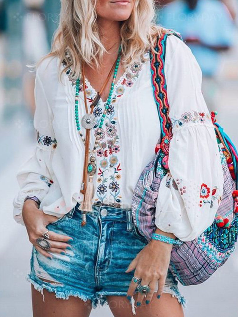 Patchwork Balloon Sleeve Blouses