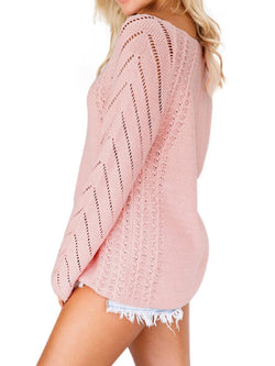 Casual Plus Size Long Sleeve V Neck Sweater