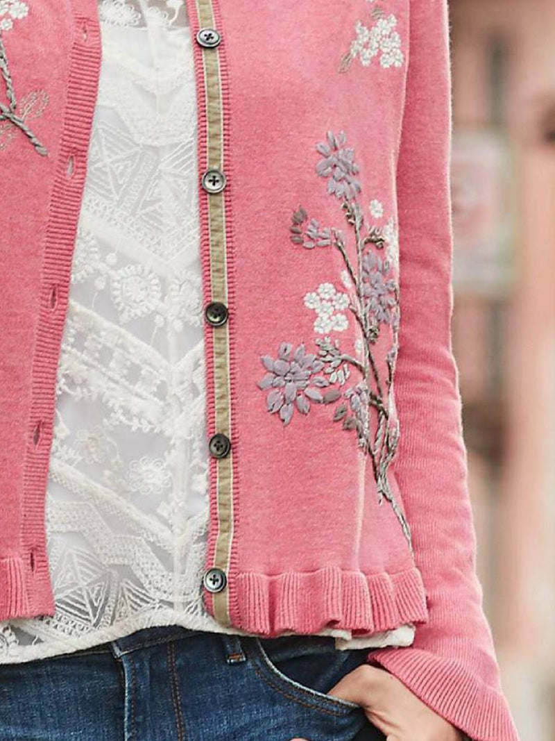 Pink Cotton-Blend Crew Neck Long Sleeve Plus Sizw Outerwear