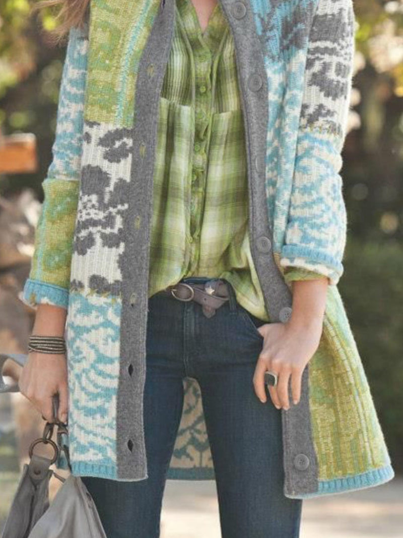 Green Cotton-Blend Casual Stand Collar Plus Size Cardigan