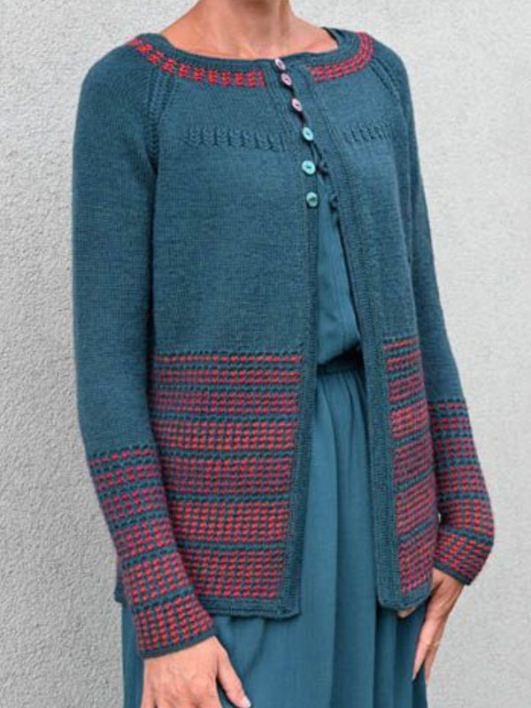 Blue Crew Neck Casual Plus Size Outerwear