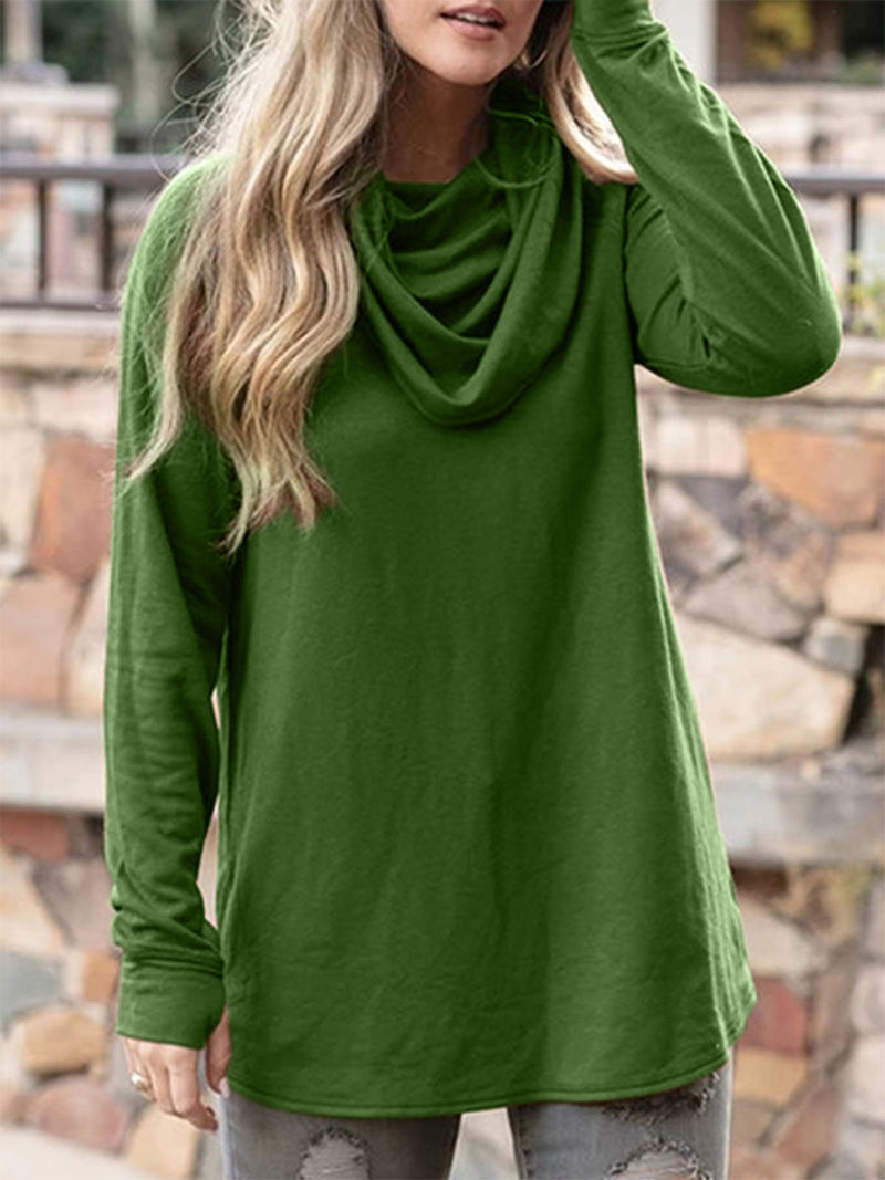 Plus Size Cowl Neck Vintage Long Sleeve Casual Tops