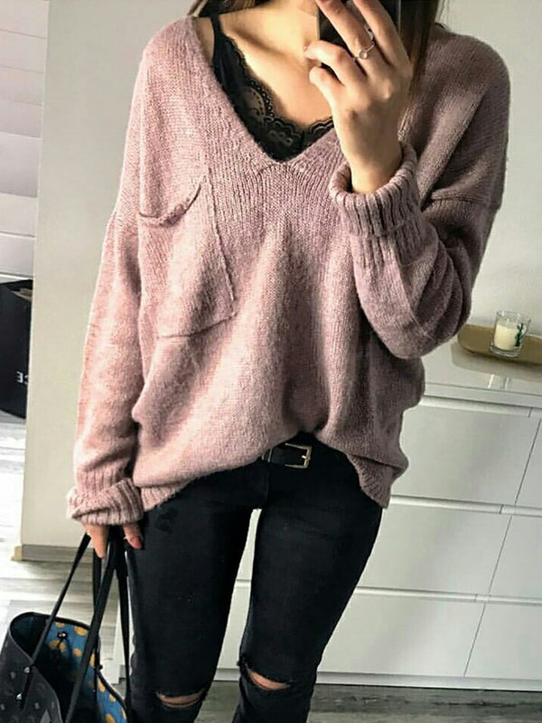 Loose large size pocket V-neck sweater