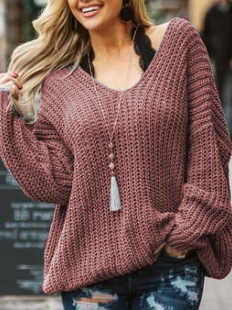 Casual Plus Size V Neck Sweater