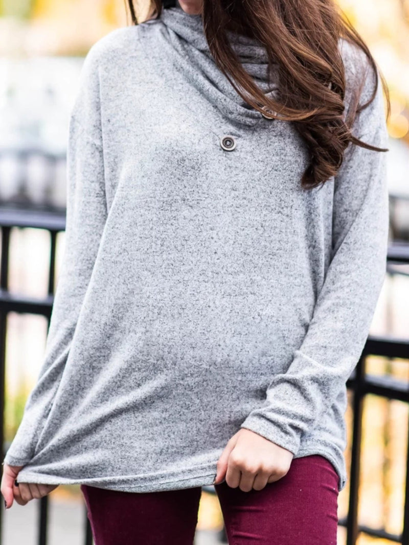 Casual Plus Size Cowl Neck Long Sleeve Tee Shirts