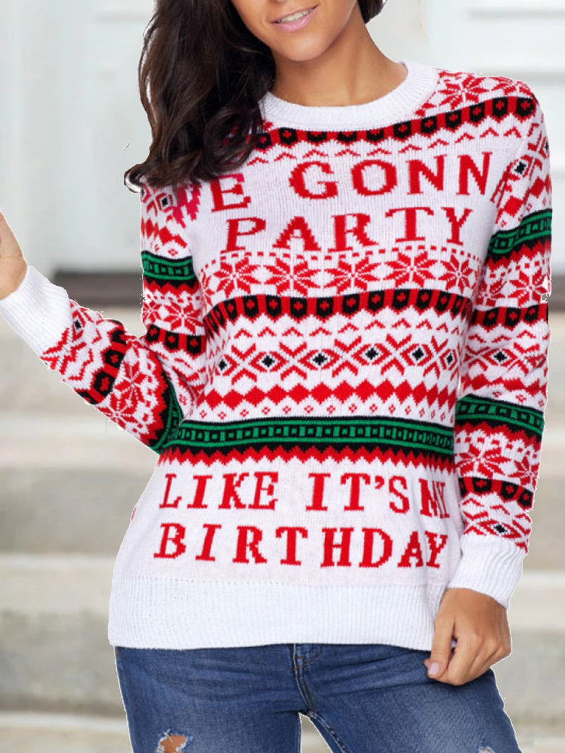 X'mas Pattern Long Sleeve Sweater Pullover
