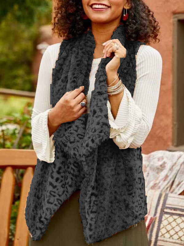 Casual Plus Size Leopard Fur Vest