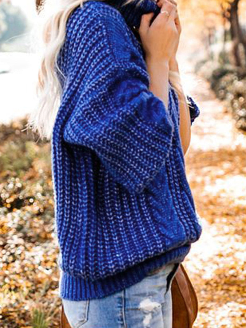 Casual Plus Size Cowl Neck Sweater Pullover