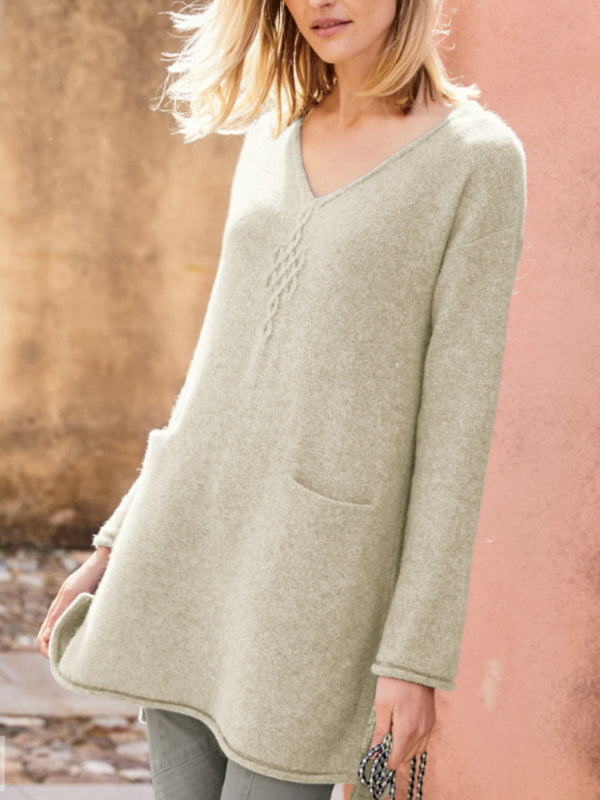 Casual Oversized V Neck Sweater Pullover Knitwear