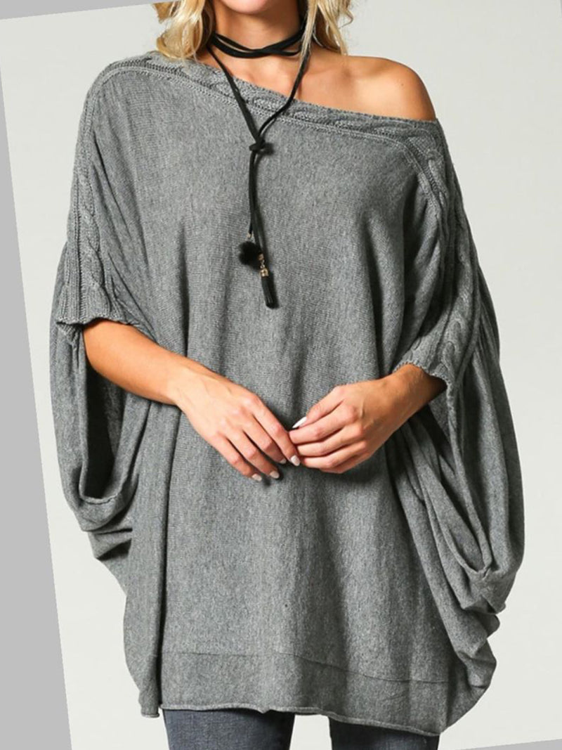 Casual Plus Size Batwing Blouse Shirt Tops Tunic