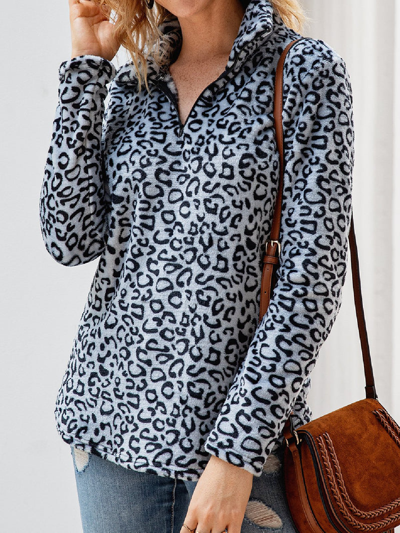 Casual Plus Size Shirt Collar Long Sleeve Tops Tunic