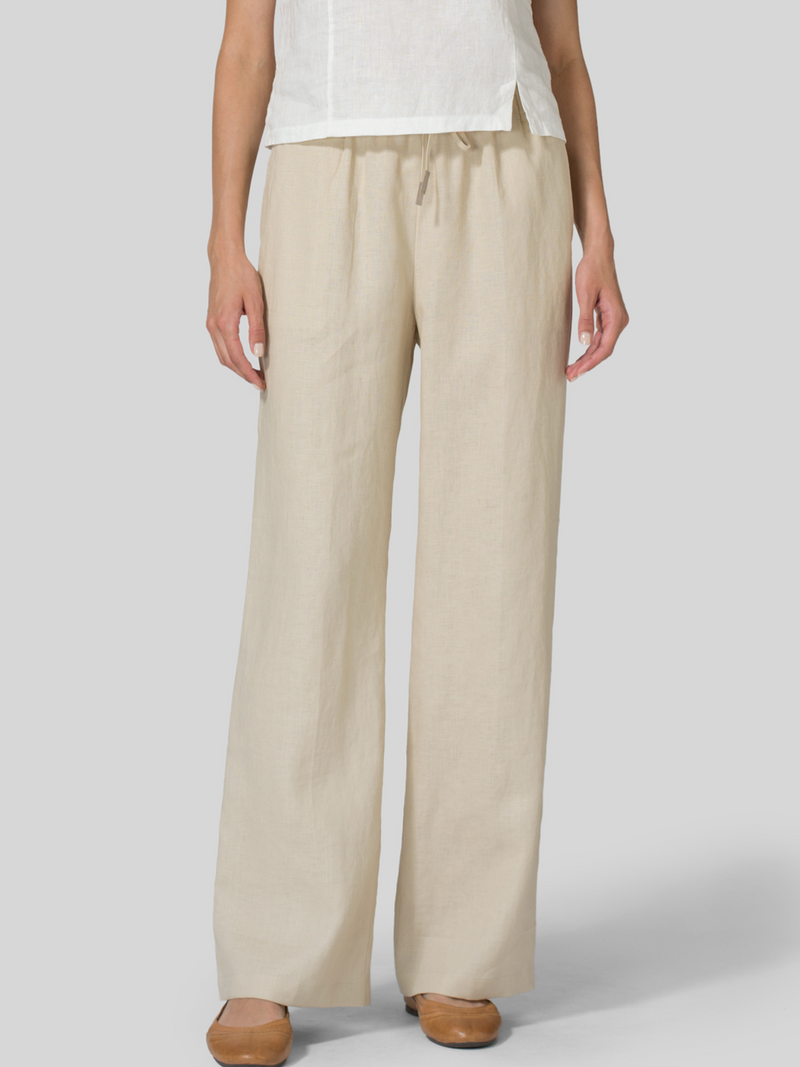 Linen Pockets Solid Pants