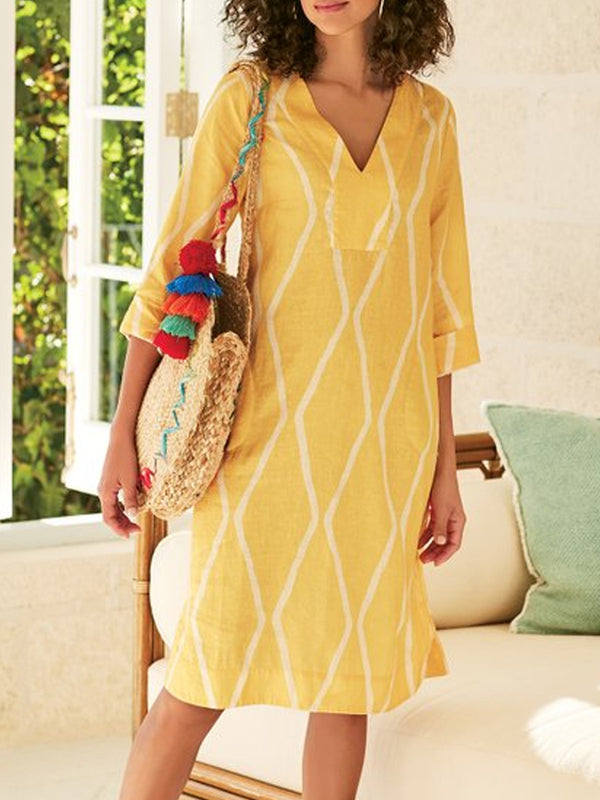 Yellow V Neck 3/4 Sleeve Patchwork Cotton-Blend Dresses