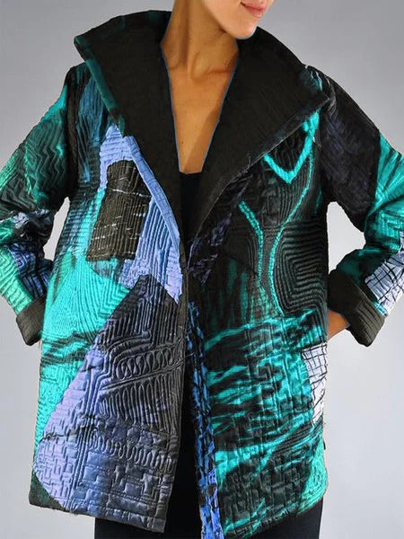 Plus Size Abstract Long Sleeve Casual Statement Outerwear