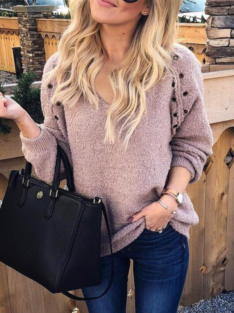 Plus Size Casual Long Sleeve V Neck Tops