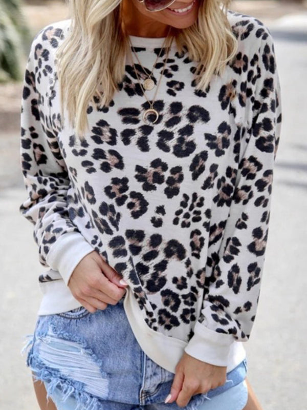 Women Casual Tops Tunic Leopard Printed Blouse Shirt