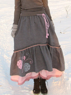 Casual Vintage Oversized Winter Skirt Outfit