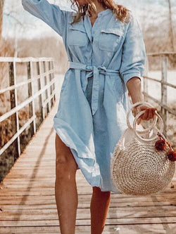 Casual Plus Size Long Sleeve Shirt Collar Denim Dresses