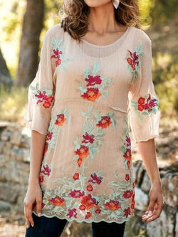 Two Piece Set  3/4 Sleeve Embroidery Blouse Shirts Tunic With Tank