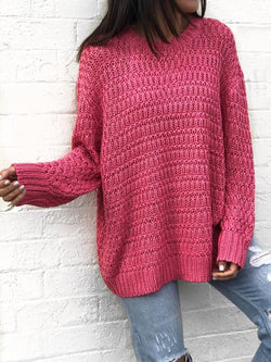 Womens Casual Plus Size Knitted Sweater