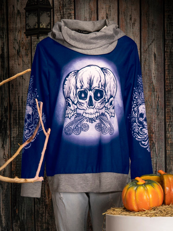 Halloween skull hooded top