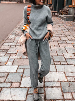 Casual Long Sleeve Solid Turtle Neck Suits