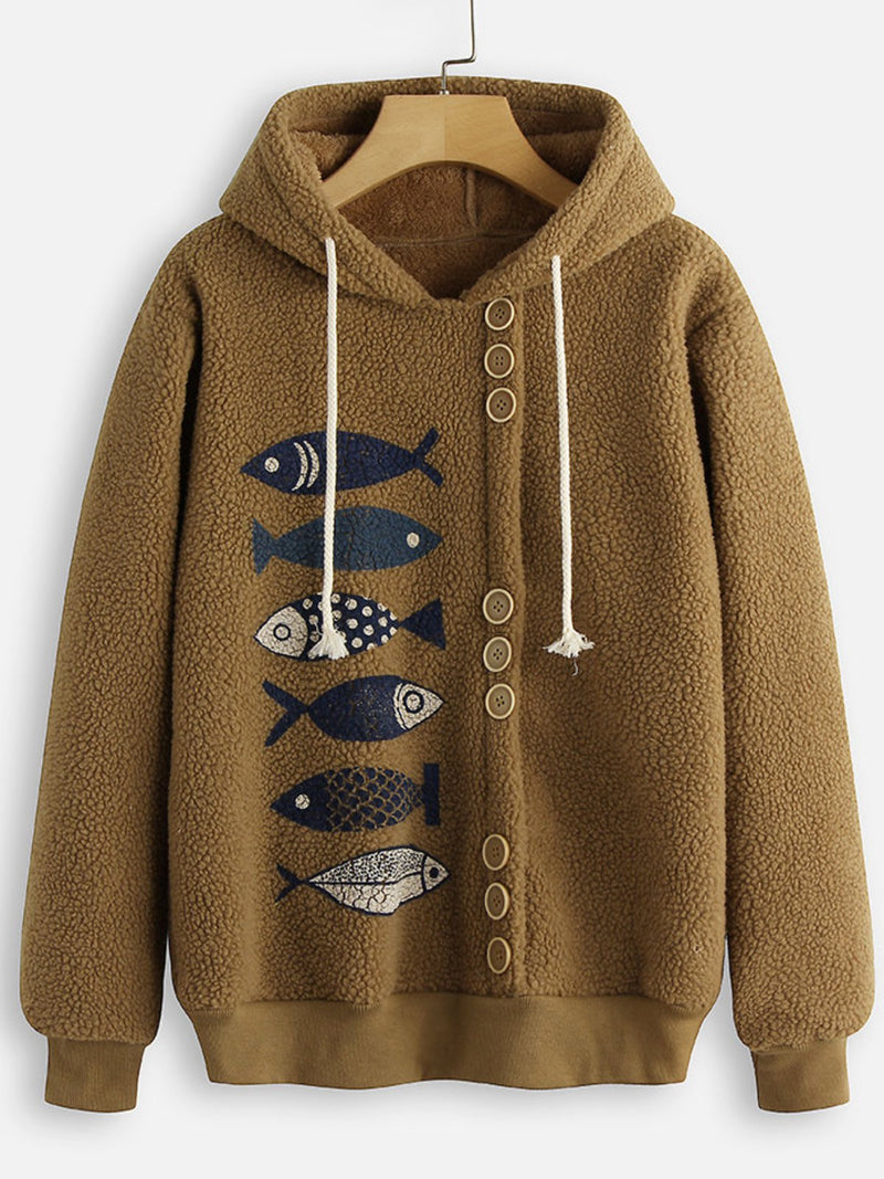 Casual Over Size Pockets Cotton-Blend Hoodie Outerwear
