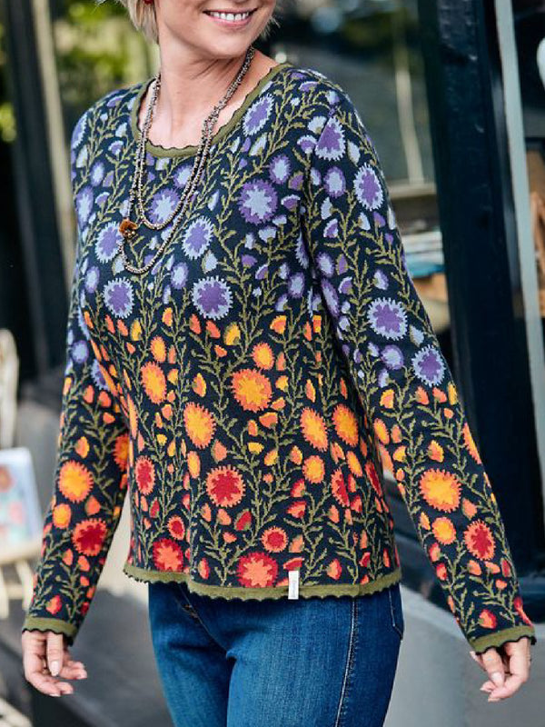 Casual Plus Size Long Sleeve Round Neck Printed Tee Shirt Tops