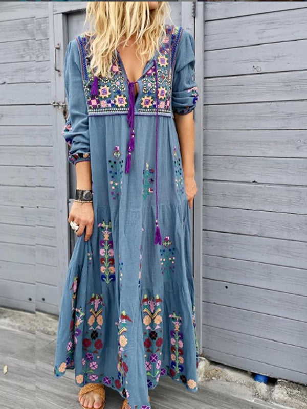 Woman Bohemia Blue Casual Patchwork Cotton-Blend V Neck Dresses