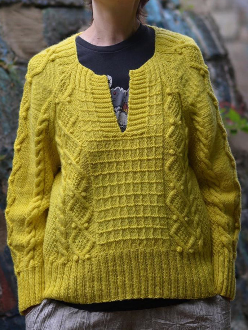 Keyhole Cotton-Blend Sweater