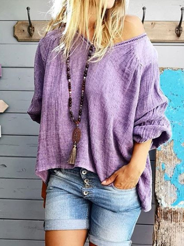 Purple Long Sleeve Casual V Neck Shirts & Tops