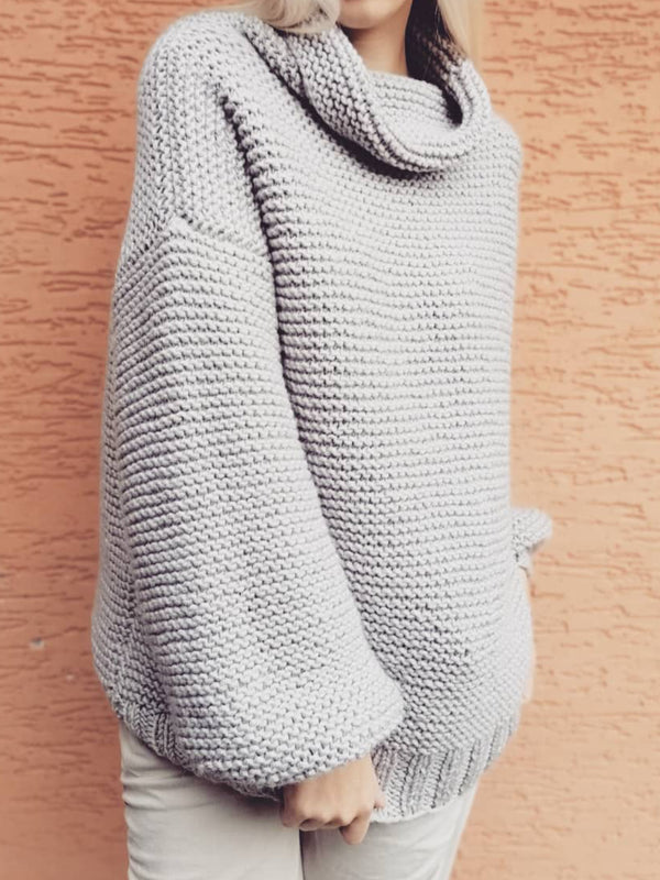 Casual Plus Size Long Sleeve Turtleneck Sweater Pullover