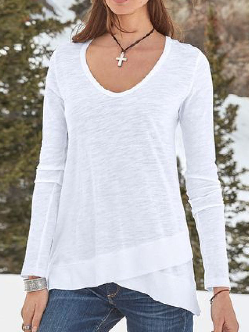 Casual Plus Size Long Sleeve Round Neck Tee Shirts