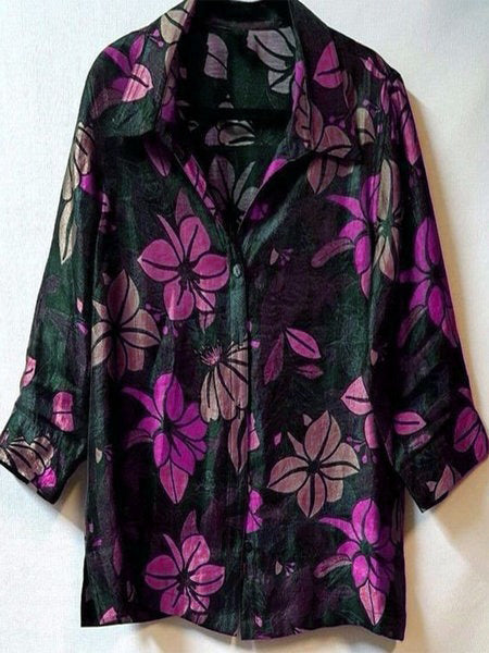 Plus Size V Neck Vintage Long Sleeve Floral Casual Tops