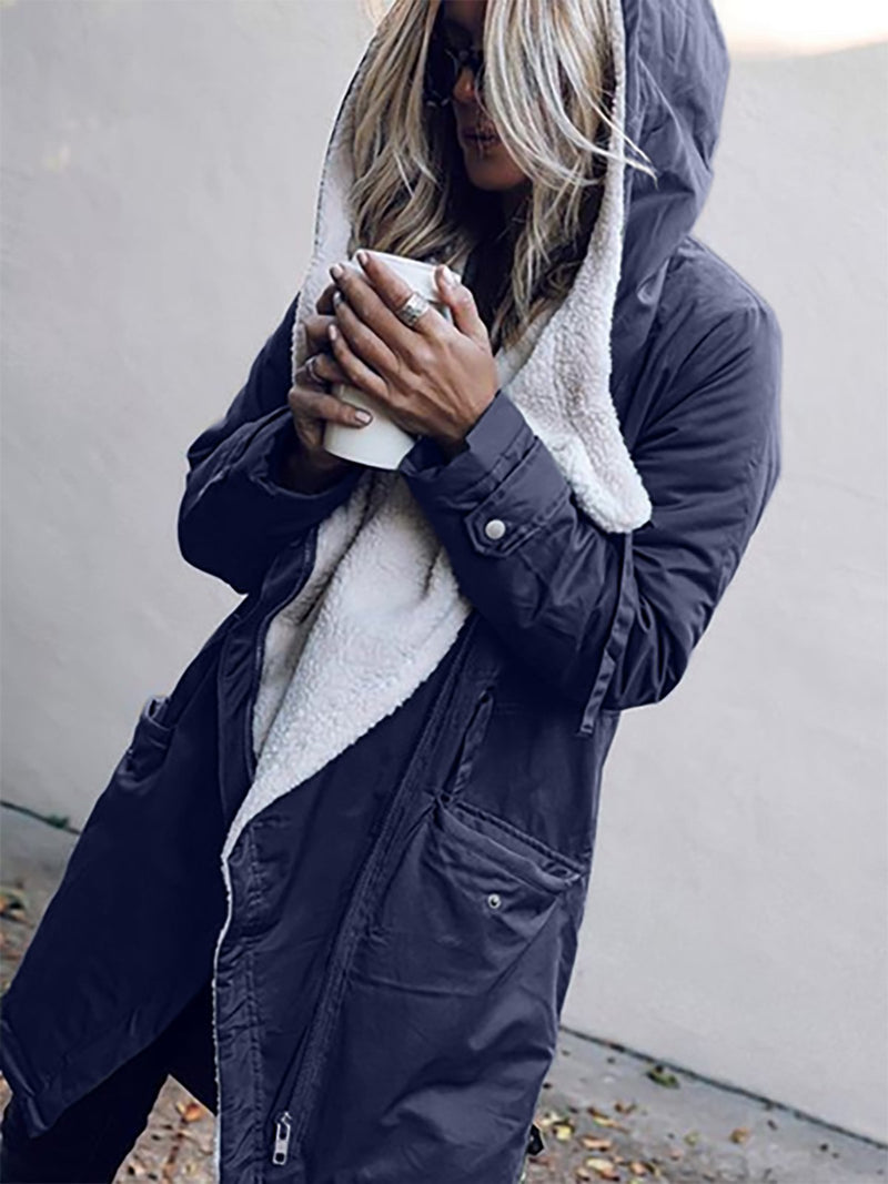 Casual Solid Hoodie Outerwear