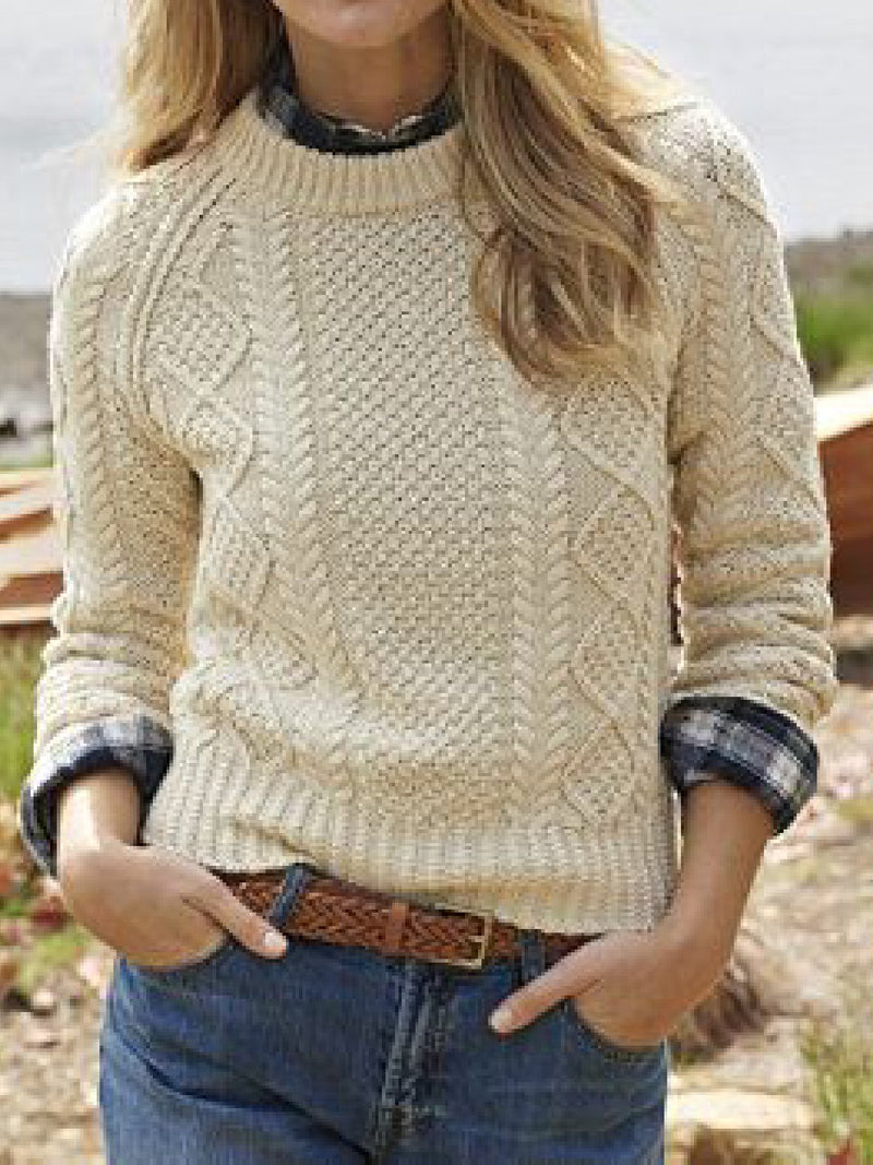 Casual Plus Size Round Neck Long Sleeve Sweater