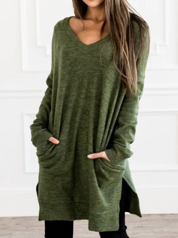Ultra-Soft Casual V neck Plus Size Tunic Sweatshirt Pullover