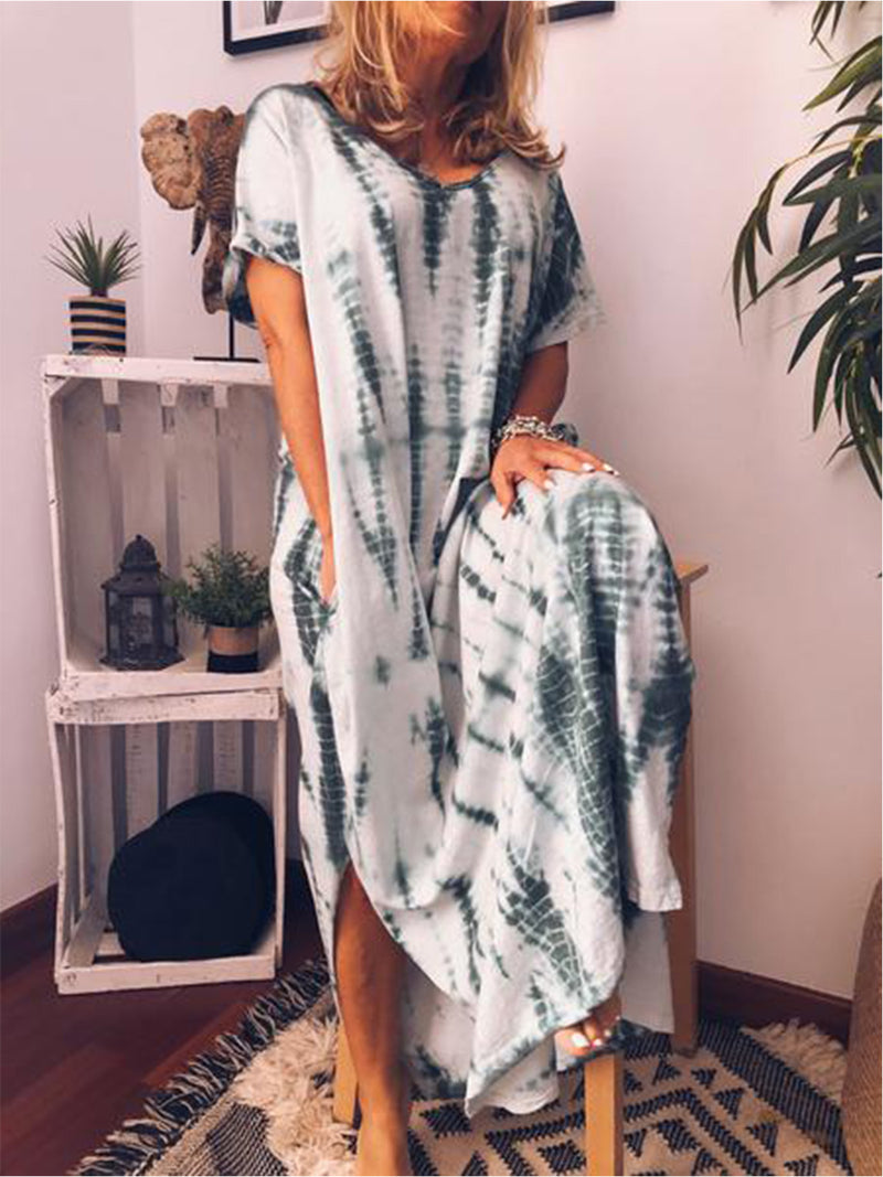 Women Casual Loose Printed Maxi Dress