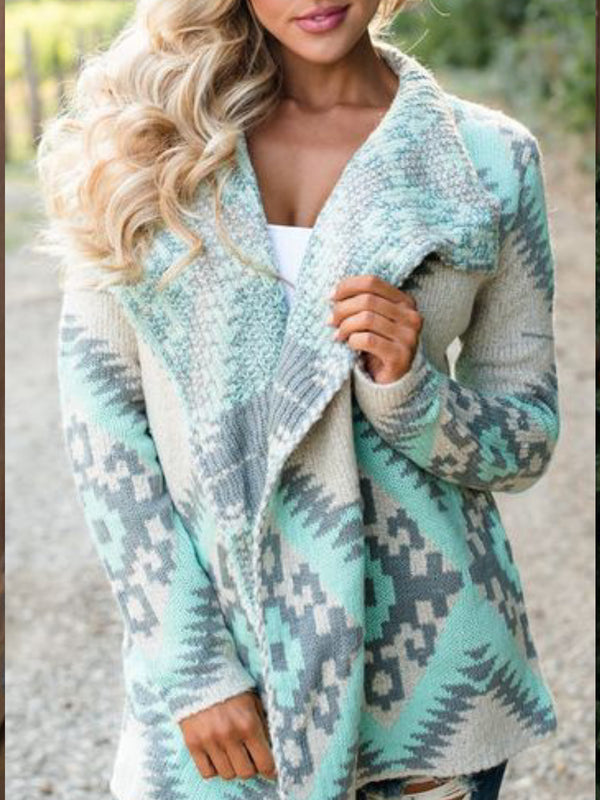 Casual Plus Size Long Sleeve Pattern Cardigan Outerwear