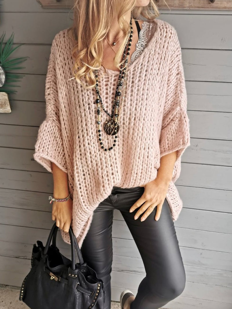 Casual Plus Size 3/4 Sleeve Sweater Pullover