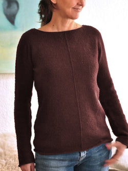 Casual Plus Size Long Sleeve Cotton-Blend Sweater