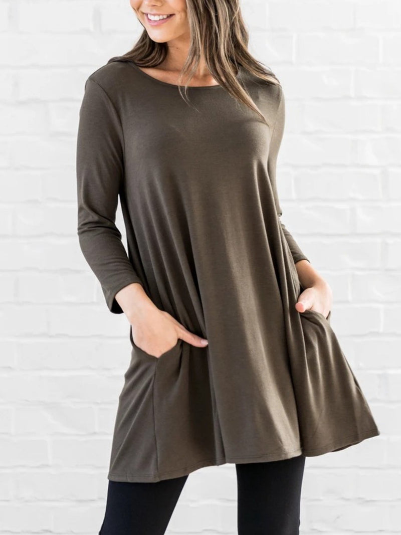 Casual Plus Size Tunic 3/4 Sleeve T Shirt