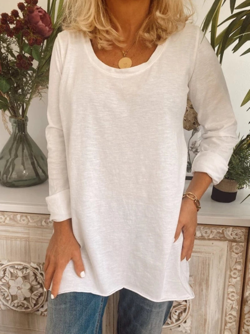 Casual Plus Size Basic Long Sleeve Tee Shirts Tops