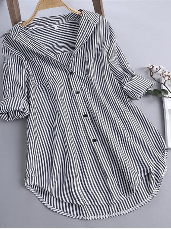 Women Casual Striped Tops Tunic Blouse Shirt